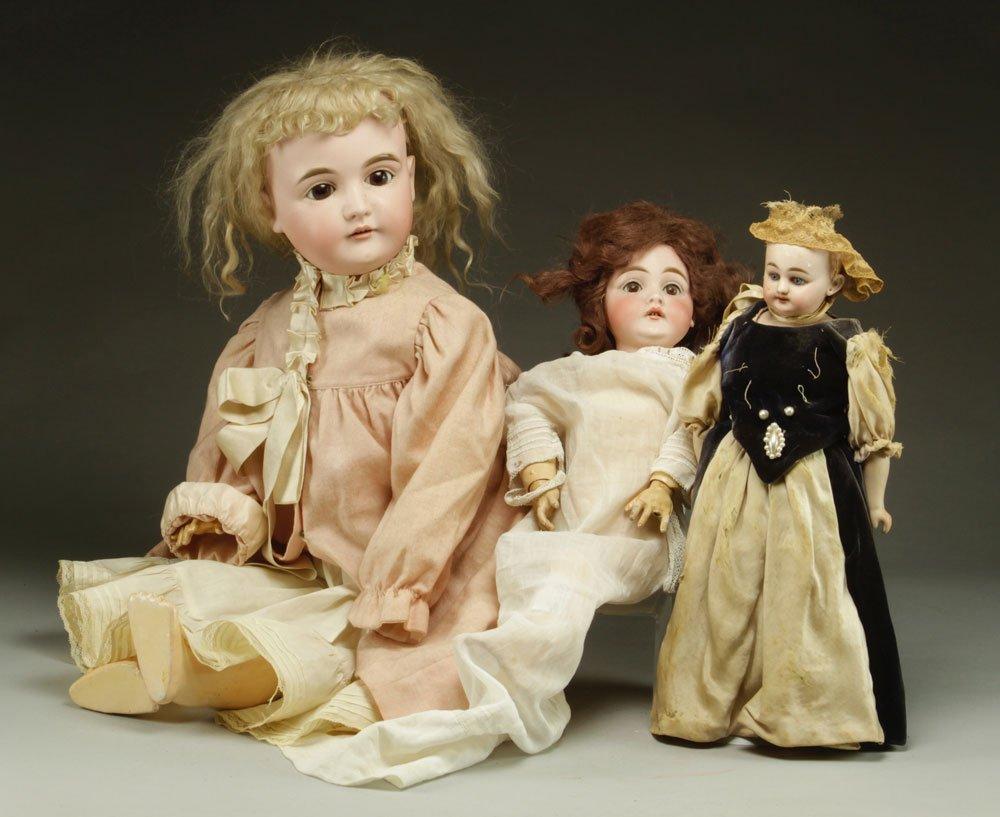 3 German Bisque Head Dolls