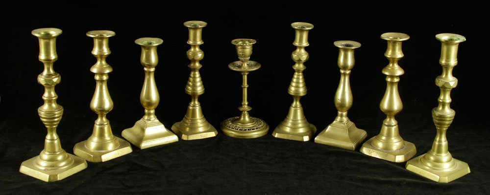 Lot of 19th C. Brass Candlesticks