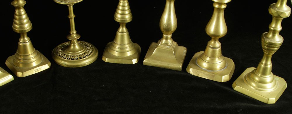 Lot of 19th C. Brass Candlesticks - 3