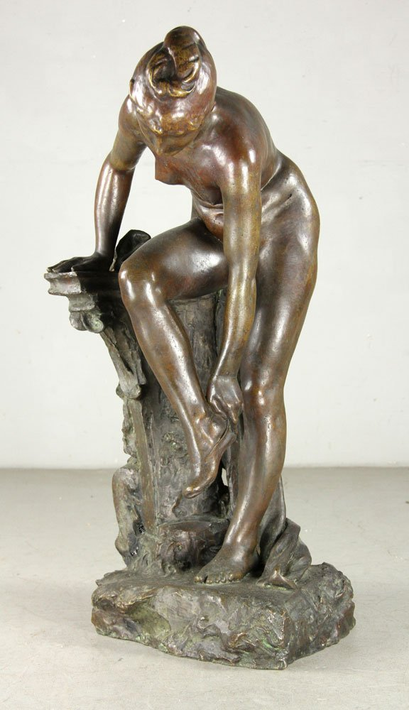 Devillez, Sculpture Of A Nude Bather, Bronze