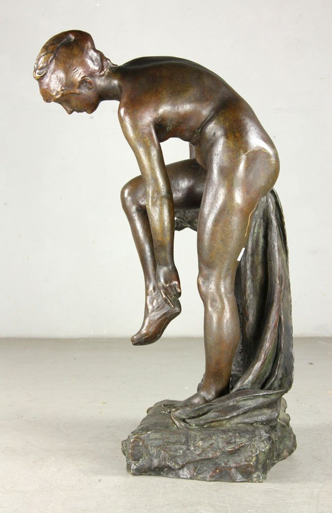 Devillez, Sculpture Of A Nude Bather, Bronze - 2