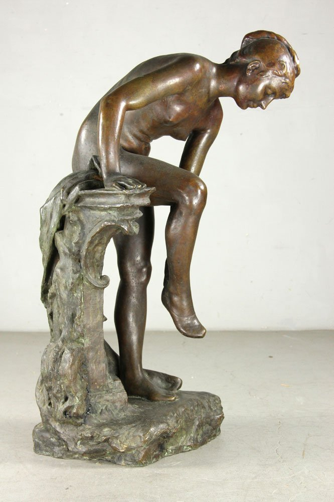 Devillez, Sculpture Of A Nude Bather, Bronze - 3