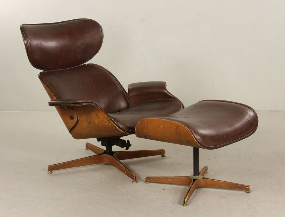 Mulhauser for Plycraft Brown Leather Chair and Ottoman