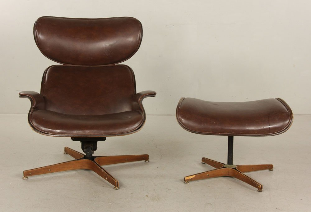 Mulhauser for Plycraft Brown Leather Chair and Ottoman - 2