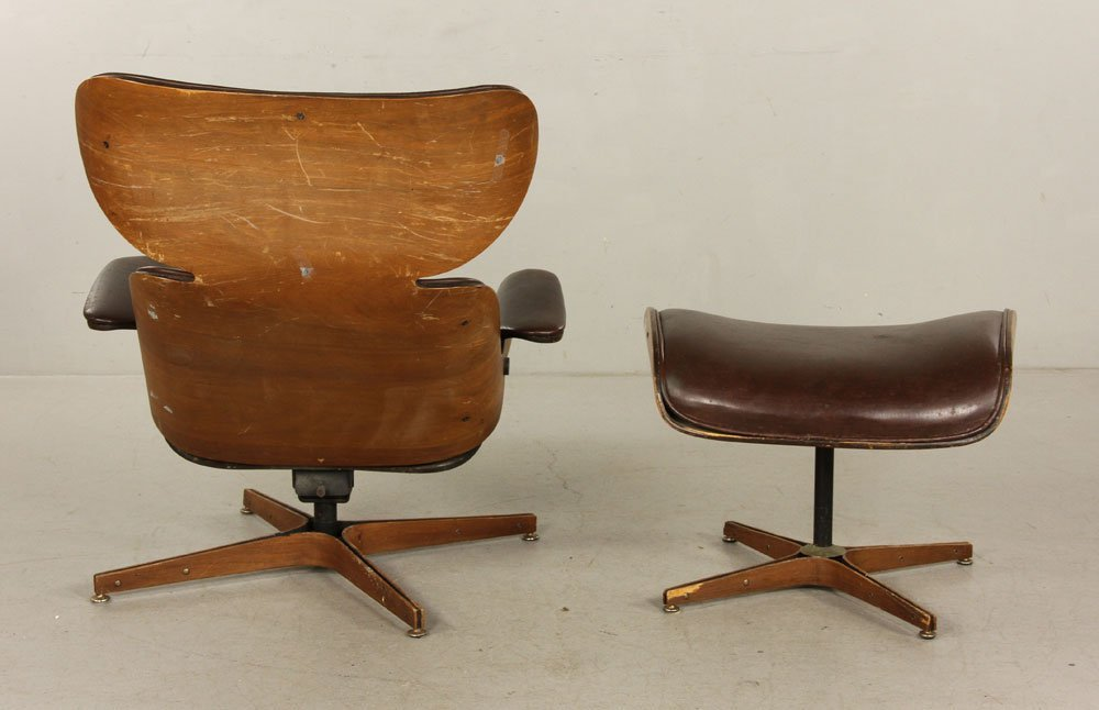 Mulhauser for Plycraft Brown Leather Chair and Ottoman - 3