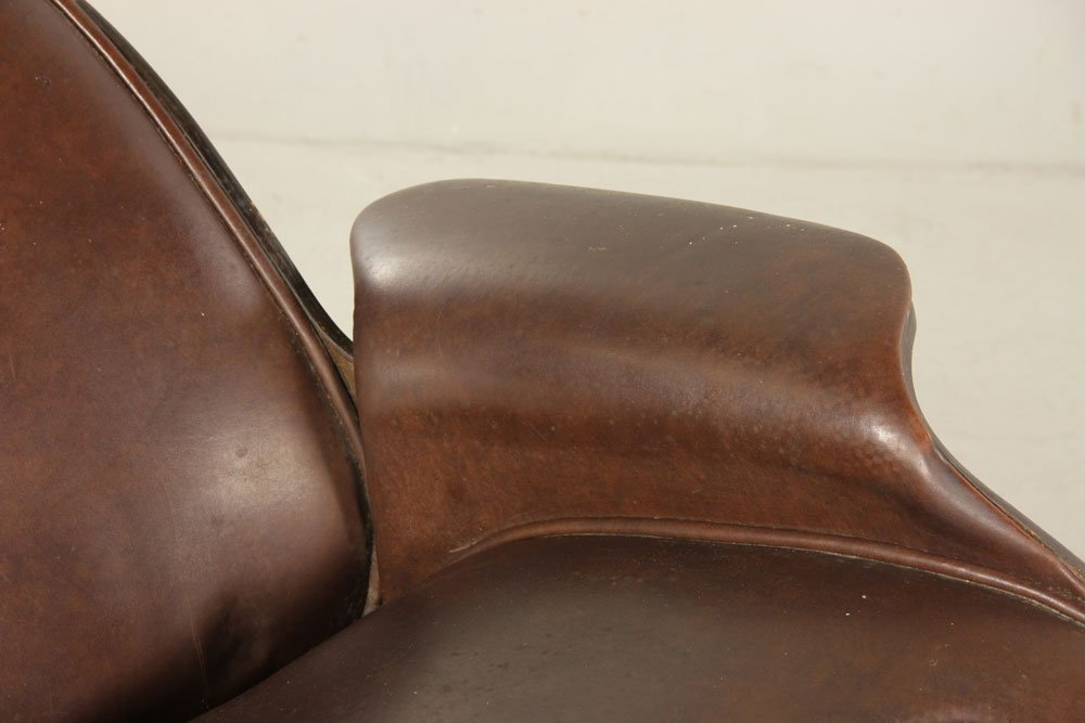 Mulhauser for Plycraft Brown Leather Chair and Ottoman - 4