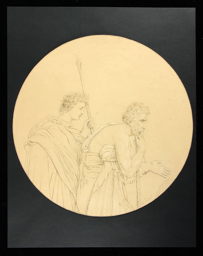 After Dore, Two Classical Figures, Pencil