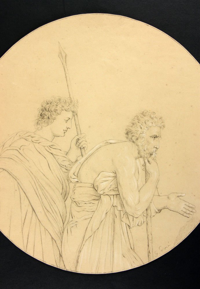 After Dore, Two Classical Figures, Pencil - 2