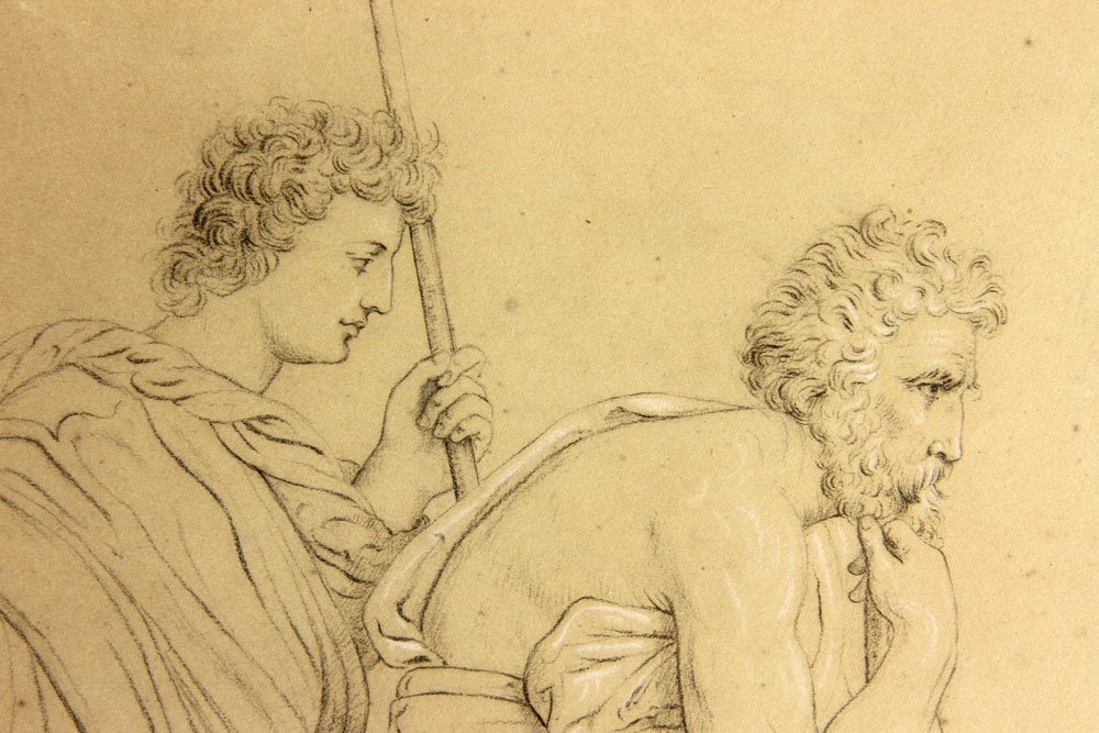 After Dore, Two Classical Figures, Pencil - 3