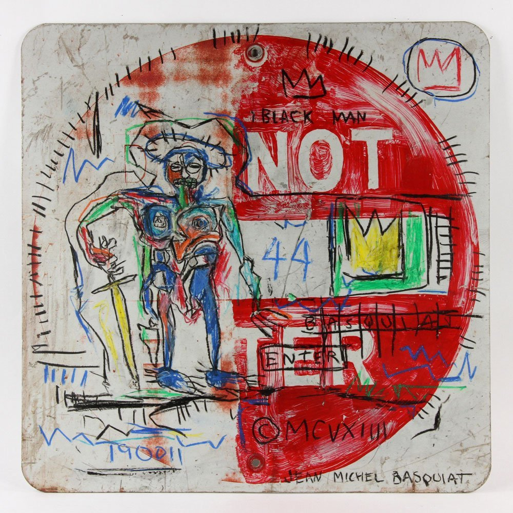 After Basquiat, Oil Sticks on Metal