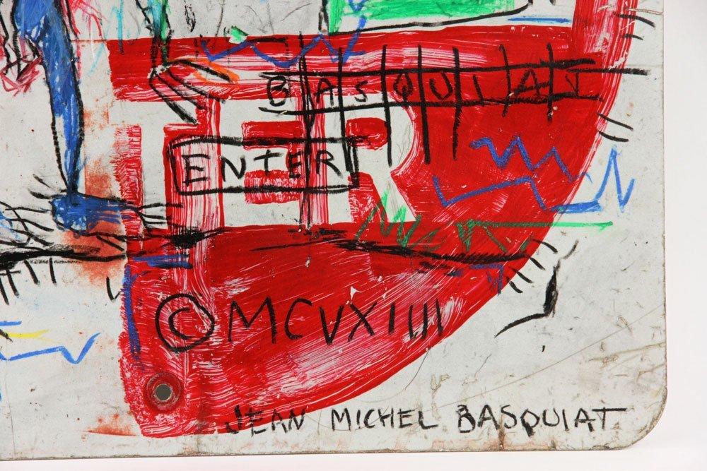 After Basquiat, Oil Sticks on Metal - 4