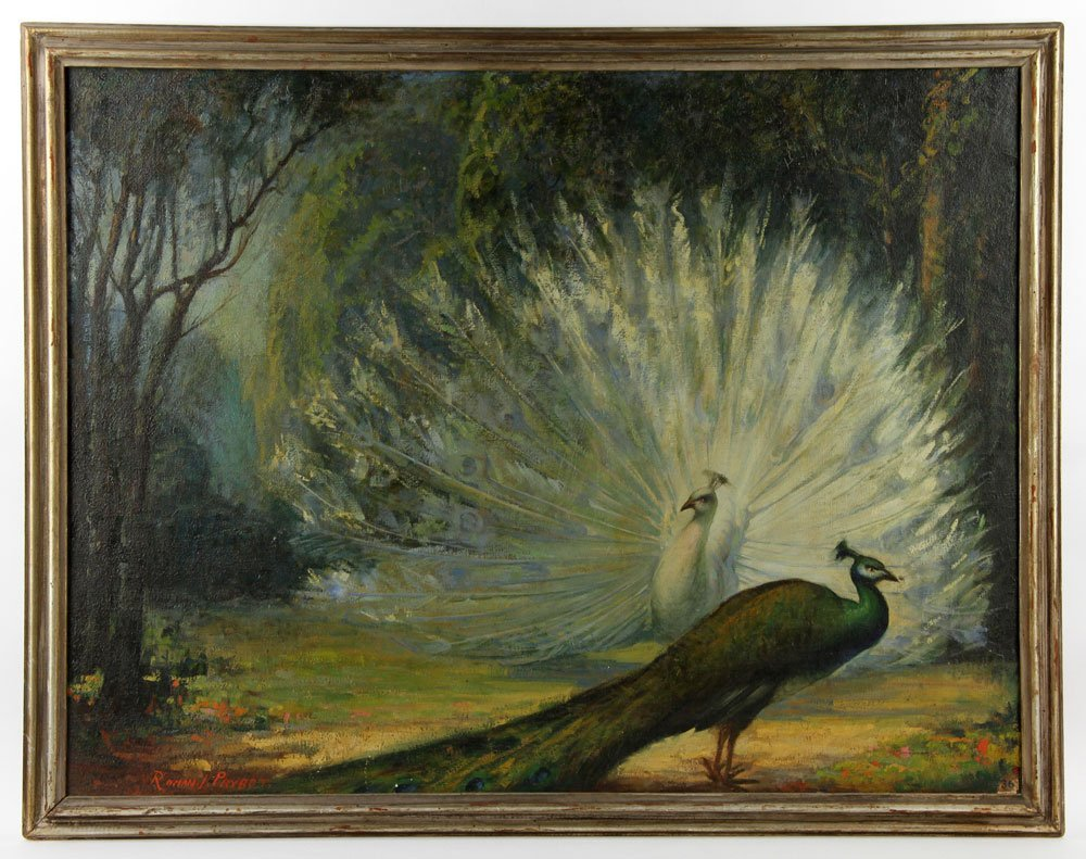 "Prybot, ""The Peacocks,"" Oil on Canvas"