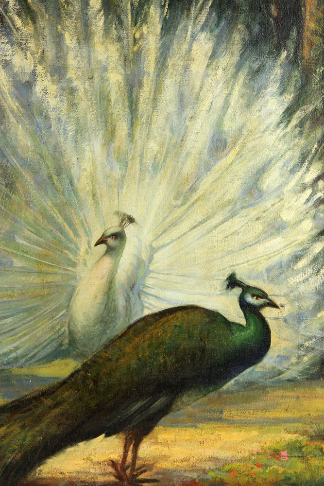 "Prybot, ""The Peacocks,"" Oil on Canvas - 3"