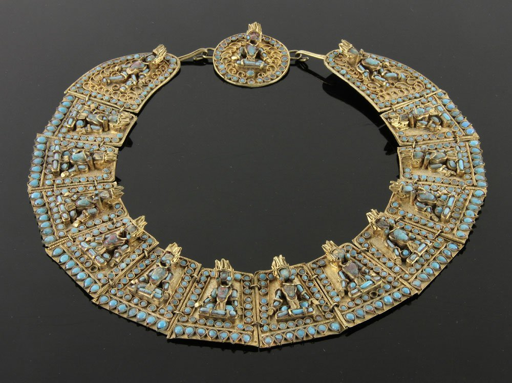 Southeast Asian Gilt Bronze and Turquoise Necklace