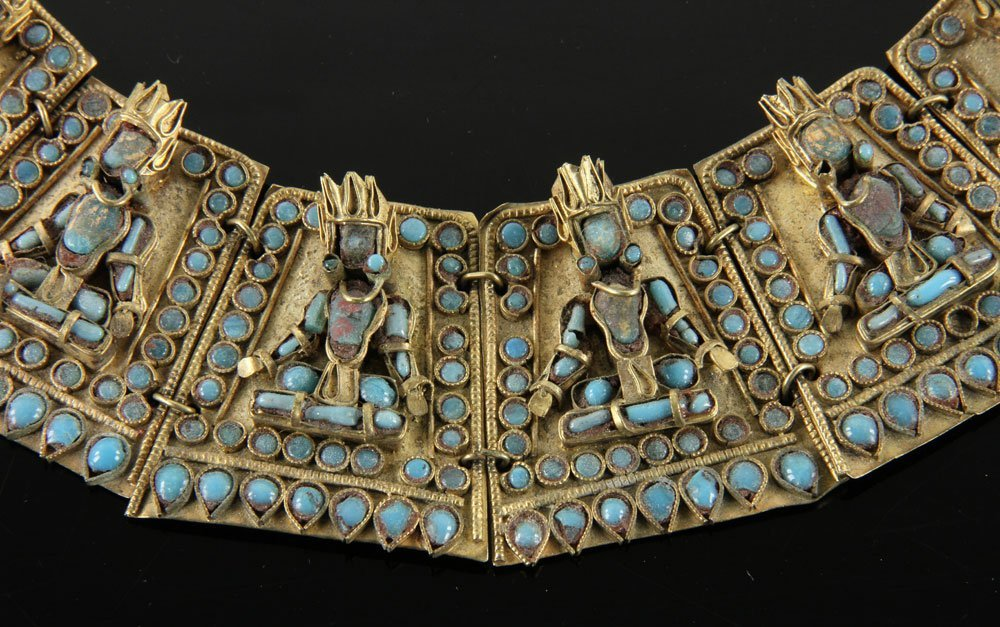Southeast Asian Gilt Bronze and Turquoise Necklace - 2