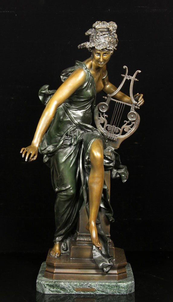 After Carrier-Belluese, Woman with Lyre, Bronze