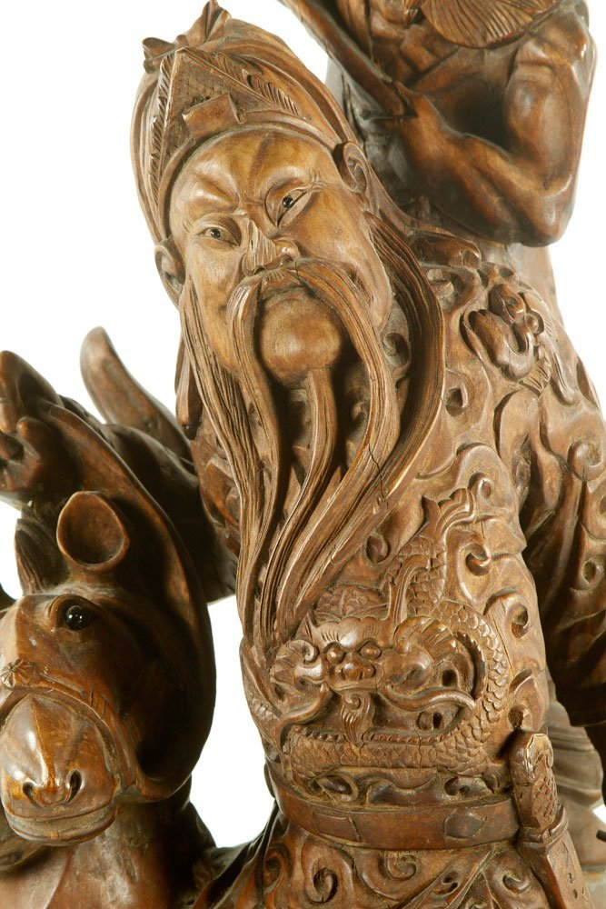 Late 19th C. Chinese Carved Wood Figure - 2