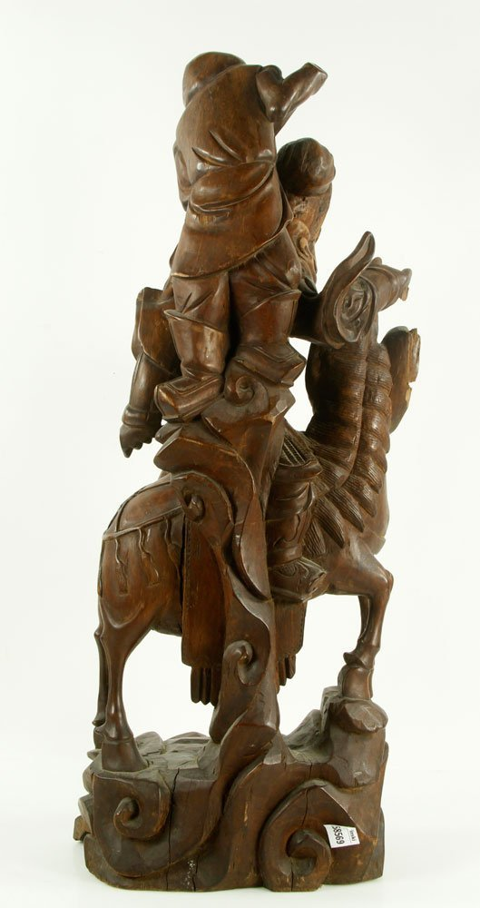 Late 19th C. Chinese Carved Wood Figure - 4