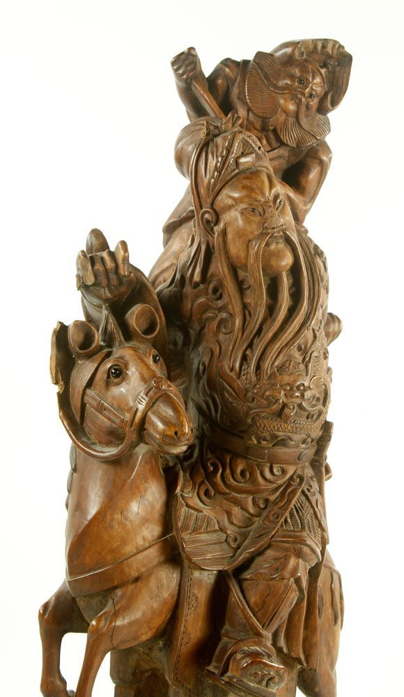 Late 19th C. Chinese Carved Wood Figure - 5