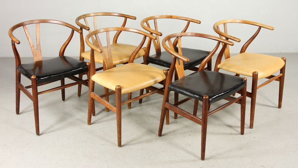 Six Hans Wegner Wishbone Chairs