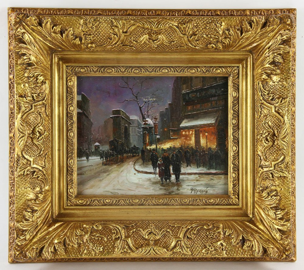 Renard, Paris Street Scene, Oil on Panel