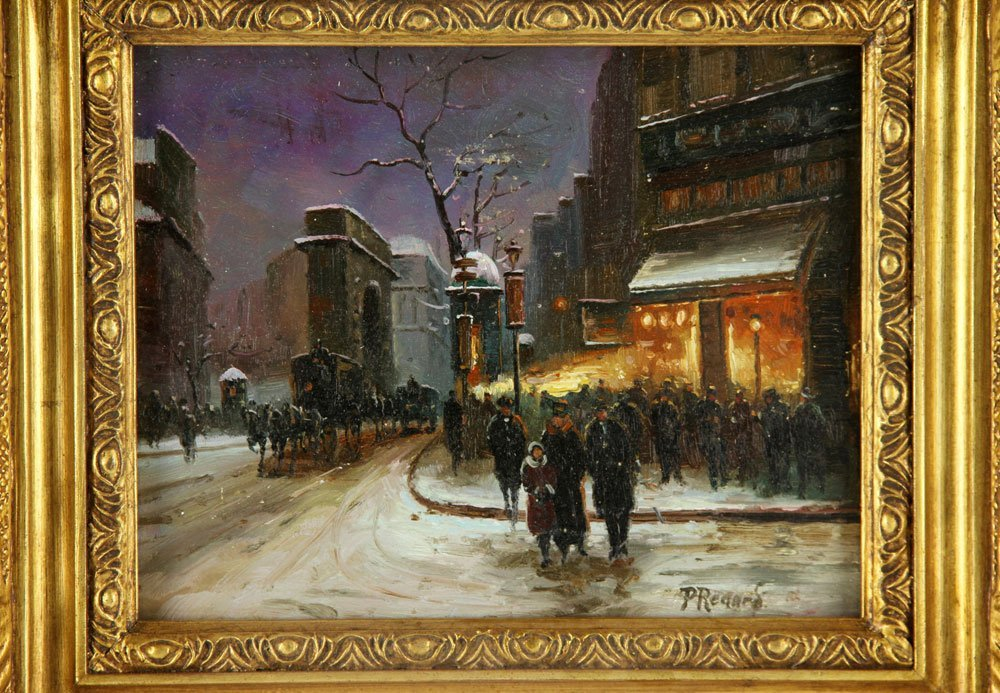 Renard, Paris Street Scene, Oil on Panel - 2