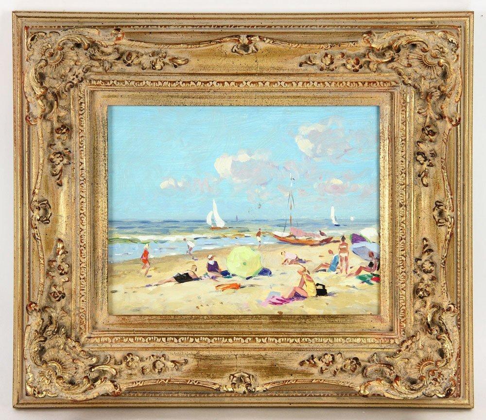 Van der Plas, Beach Scene, Oil on Board