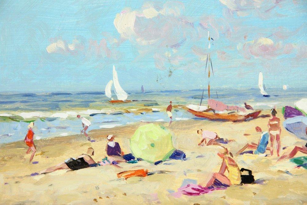 Van der Plas, Beach Scene, Oil on Board - 2