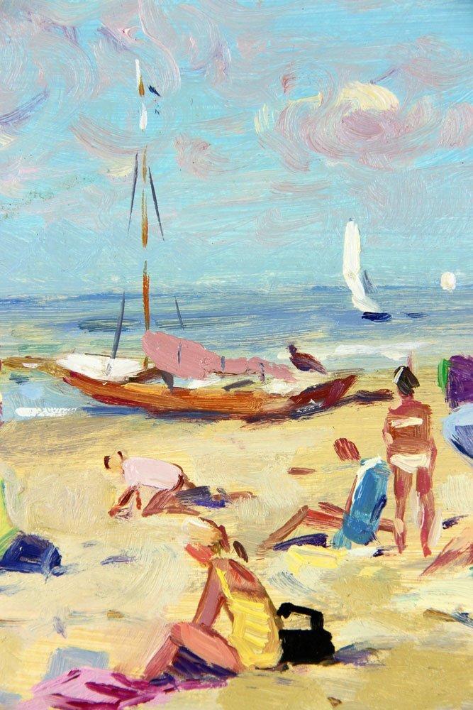 Van der Plas, Beach Scene, Oil on Board - 3