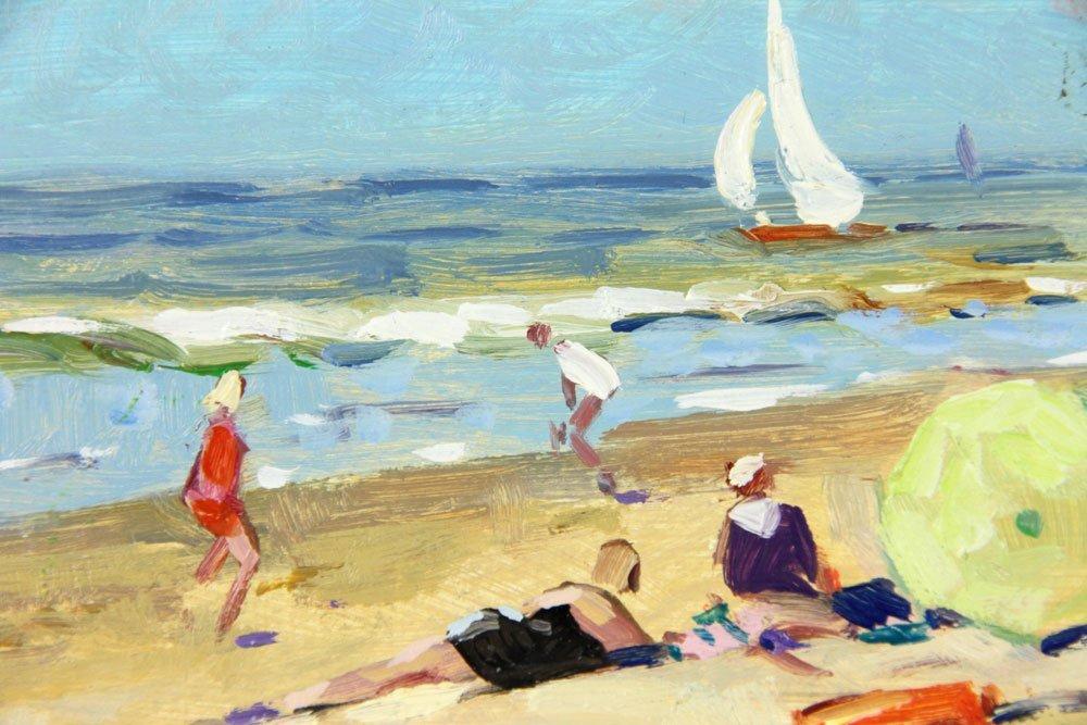 Van der Plas, Beach Scene, Oil on Board - 4