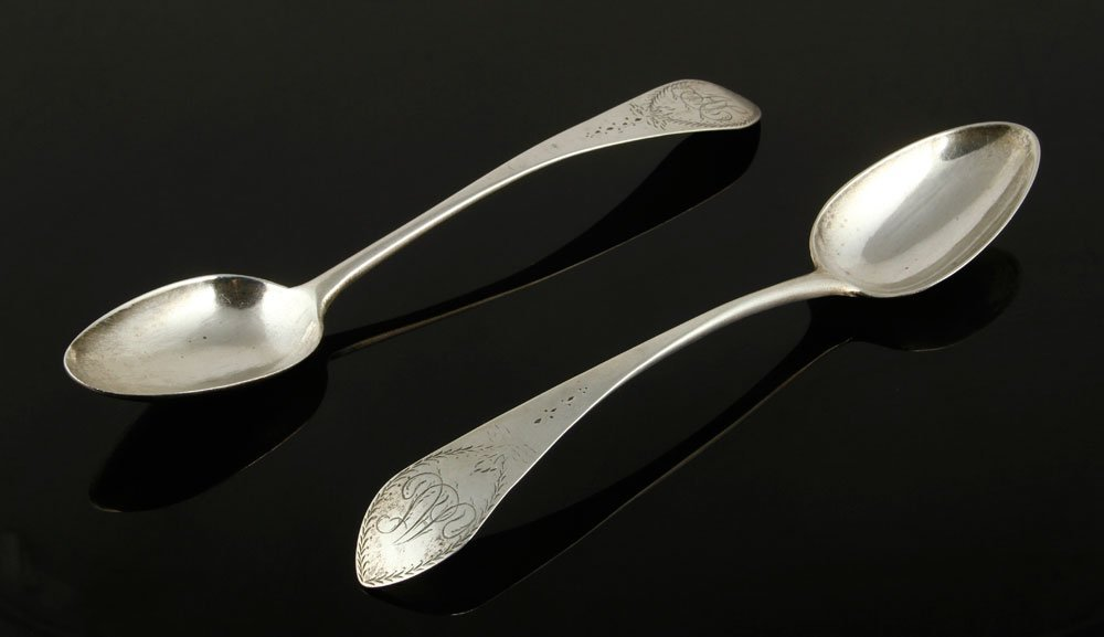 Two 18th C. Connecticut Silver Spoons