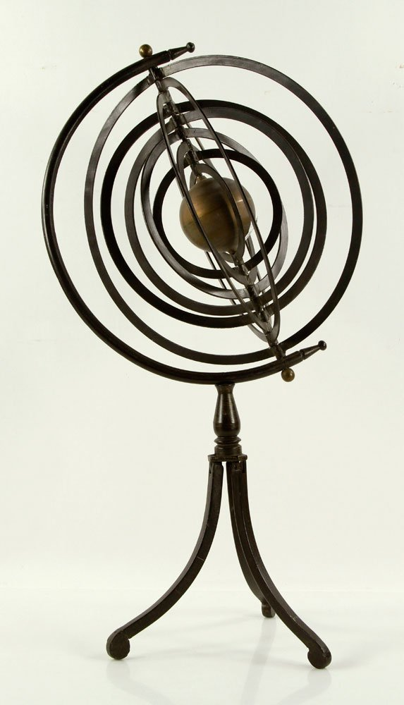 Iron and Brass Celestial Orb Sculpture