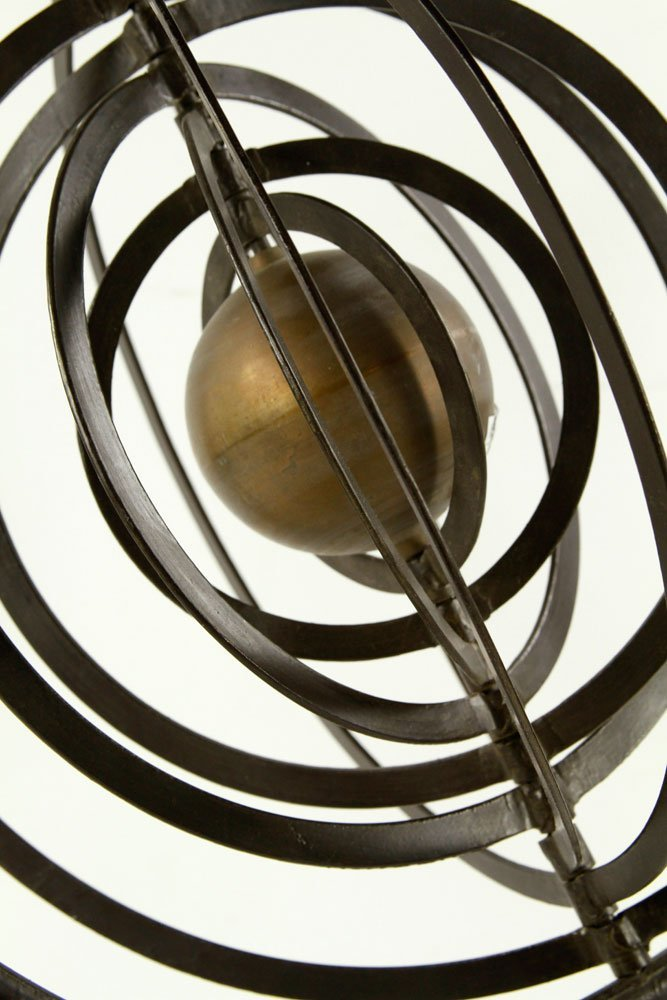 Iron and Brass Celestial Orb Sculpture - 3