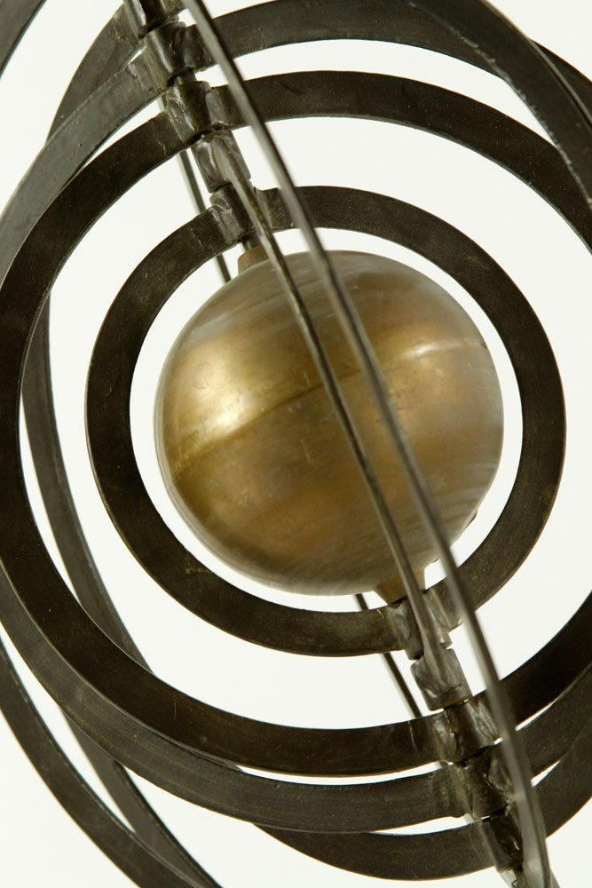 Iron and Brass Celestial Orb Sculpture - 4