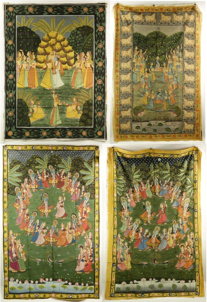 4 Indian Paintings on Linen