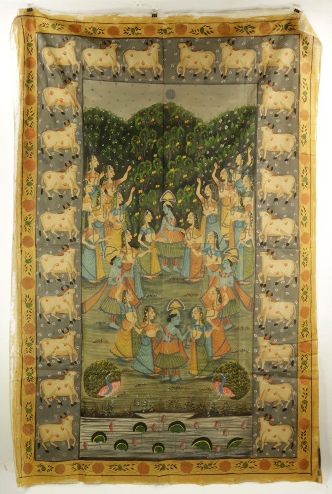 4 Indian Paintings on Linen - 5