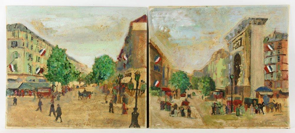 Two French Street Scenes, Oil on Cardboard