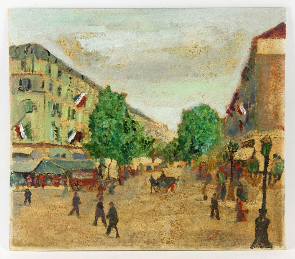 Two French Street Scenes, Oil on Cardboard - 2