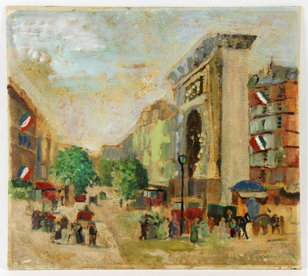 Two French Street Scenes, Oil on Cardboard - 3