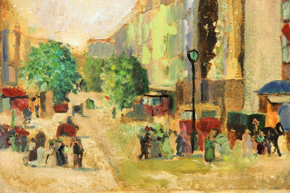 Two French Street Scenes, Oil on Cardboard - 4