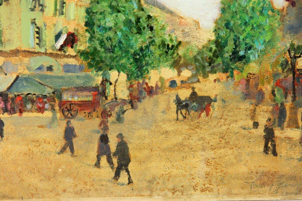 Two French Street Scenes, Oil on Cardboard - 5