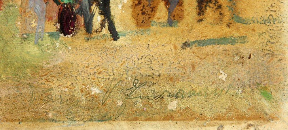 Two French Street Scenes, Oil on Cardboard - 7
