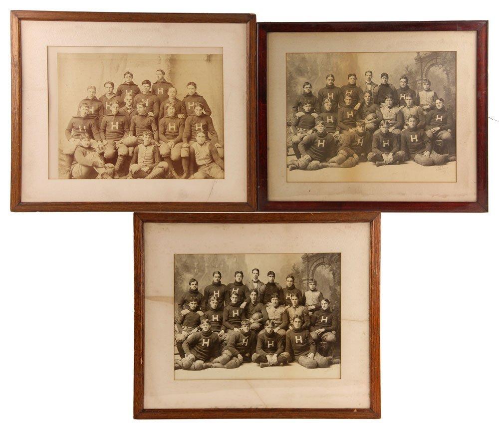 Three Albumen Photographs of Harvard Football Teams
