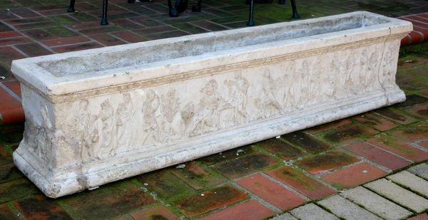 Roman Style Cement Planter, Circa 19th C.