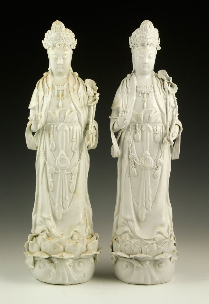 Two Chinese Blanc de Chine Guanyin Figures