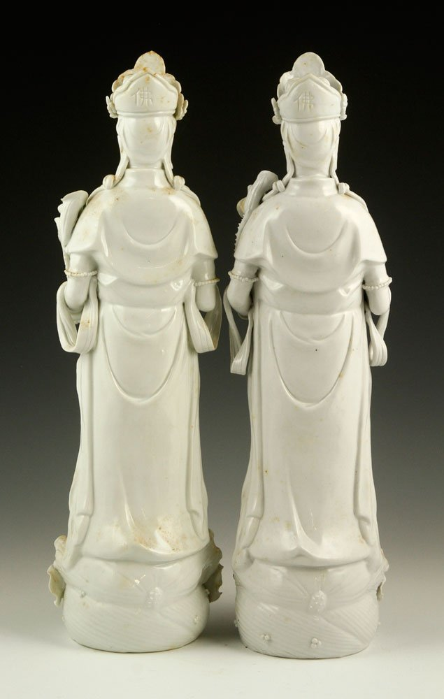 Two Chinese Blanc de Chine Guanyin Figures - 2