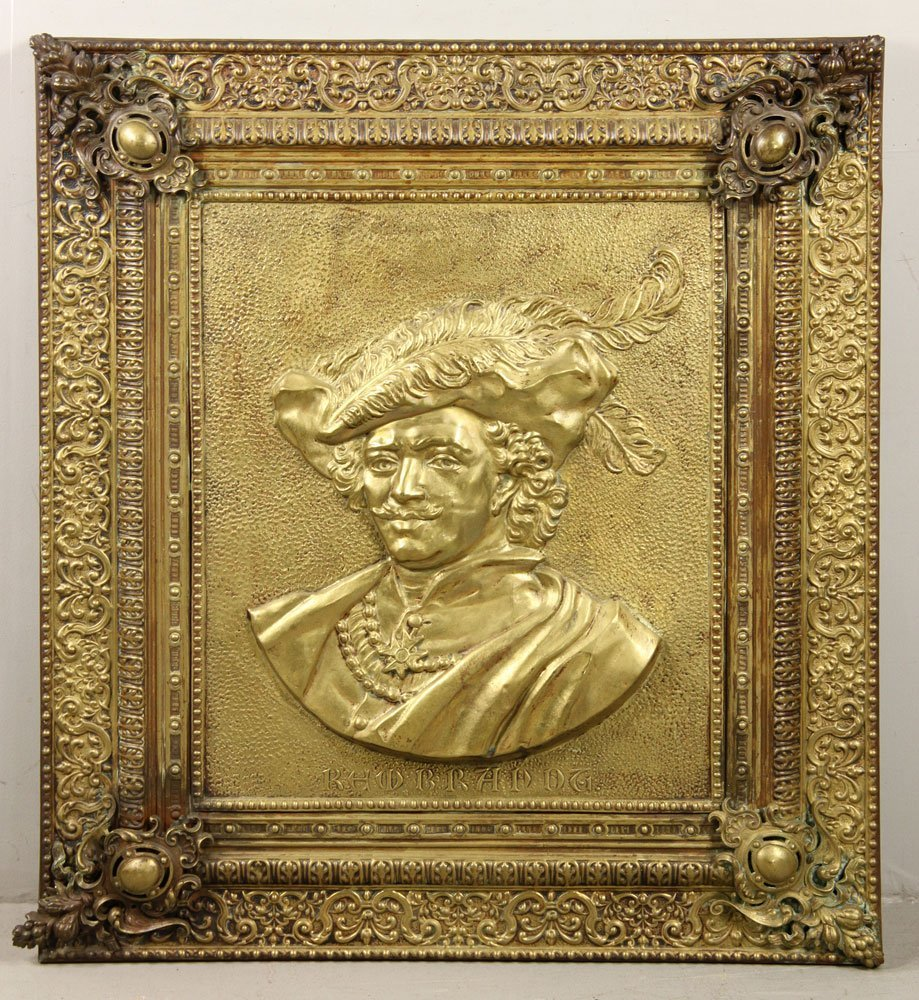 Brass Plated Portrait Plaque of Rembrandt