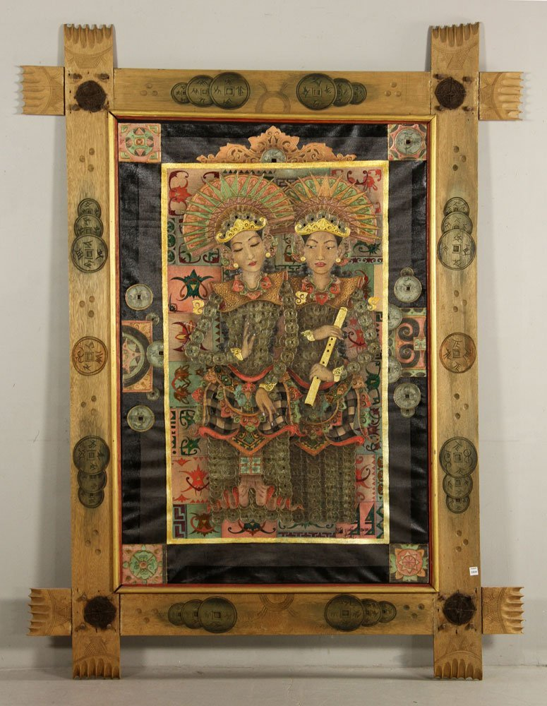 Trawan, Balinese Painting of Dancers, Oil