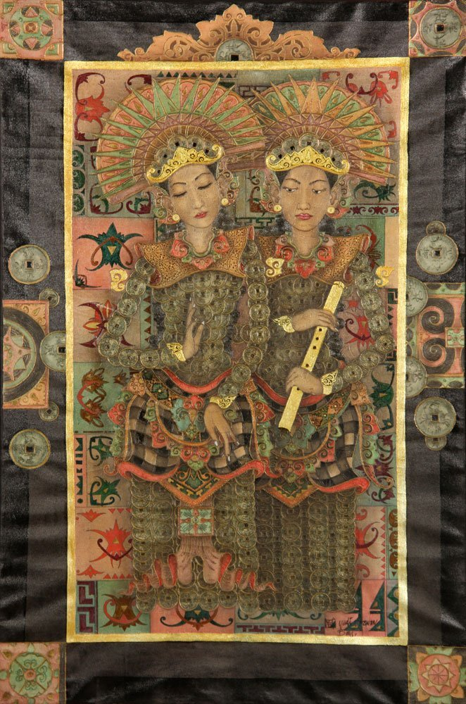 Trawan, Balinese Painting of Dancers, Oil - 2