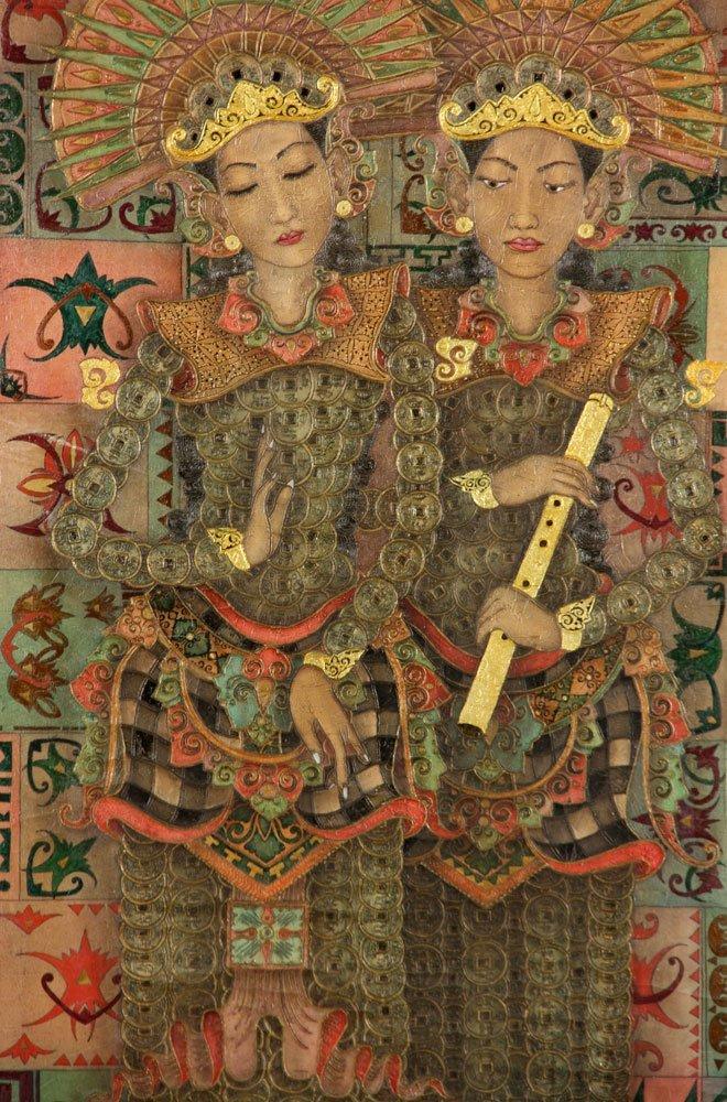 Trawan, Balinese Painting of Dancers, Oil - 3